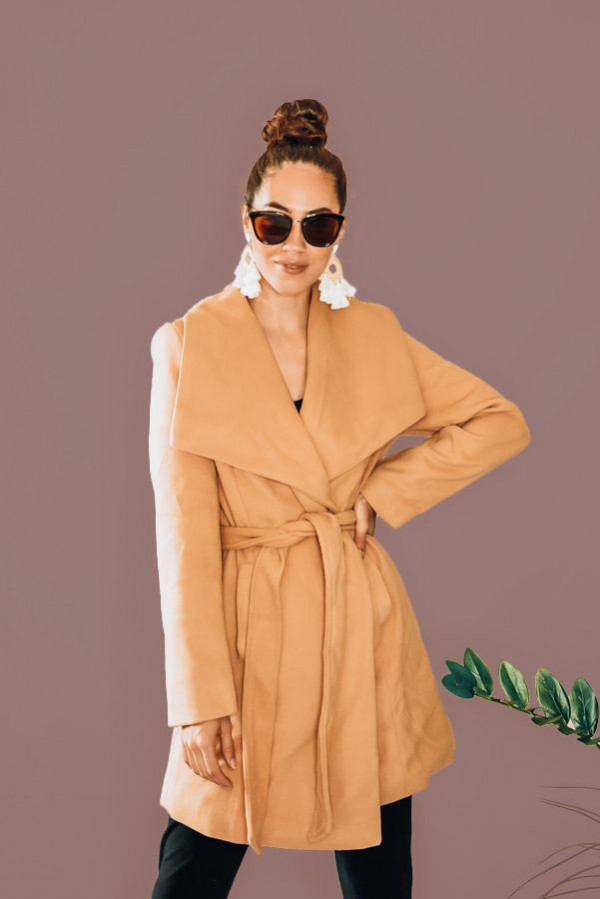 """CAMEL LONG WRAP COAT, WITH OVERSIZED SHAWL COLLAR. 100% POLYESTER. AMANDA IS 5'6"""" SIZE 2, WEARING A SMALL. NIKI IS SIZE 14 WEARING AN LARGE. S 0-4 M 6-10 L 12-14"""