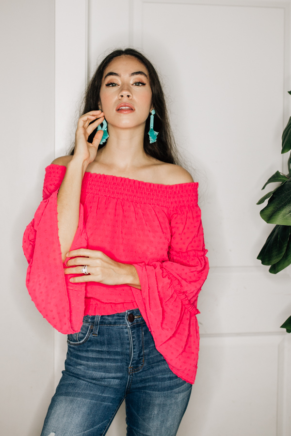 OFF THE SHOULDER, BELL SLEEVE TOP WITH   ELASTIC AT NECKLINE AND WAIST. 100% POLYESTER  XS 0-2 SMALL 4-6 MEDIUM 8-10 LARGE 12-14 XL 16-18