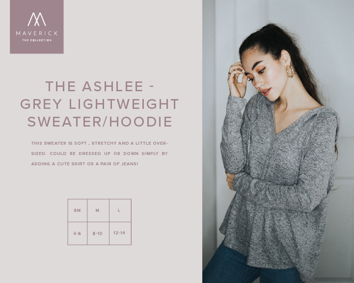 Image for THE ASHLEE - GREY LIGHTWEIGHT SWEATER/HOODIE