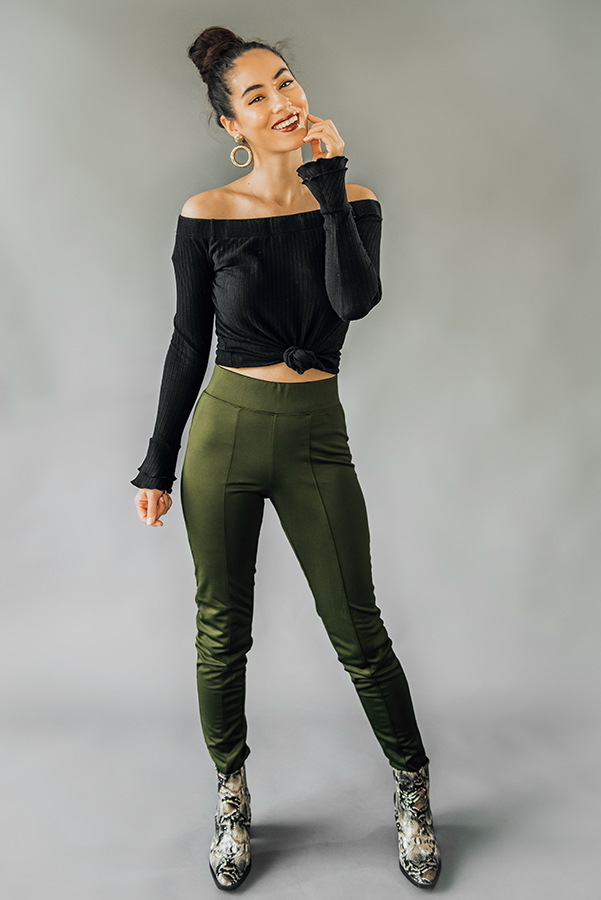 """OLIVE HIGH WAIST LEGGING. SLIM FITTING, TRACK SUIT MATERIAL WITH MOTO DETAIL. ALSO COMES IN BLACK. MODEL INFO: PIPER – SIZE 0, 5'5"""", WEARING A SMALL. 95% POLYESTER, 5% SPANDEX. SMALL 0-2 MEDIUM 4-6 LARGE 6-8"""