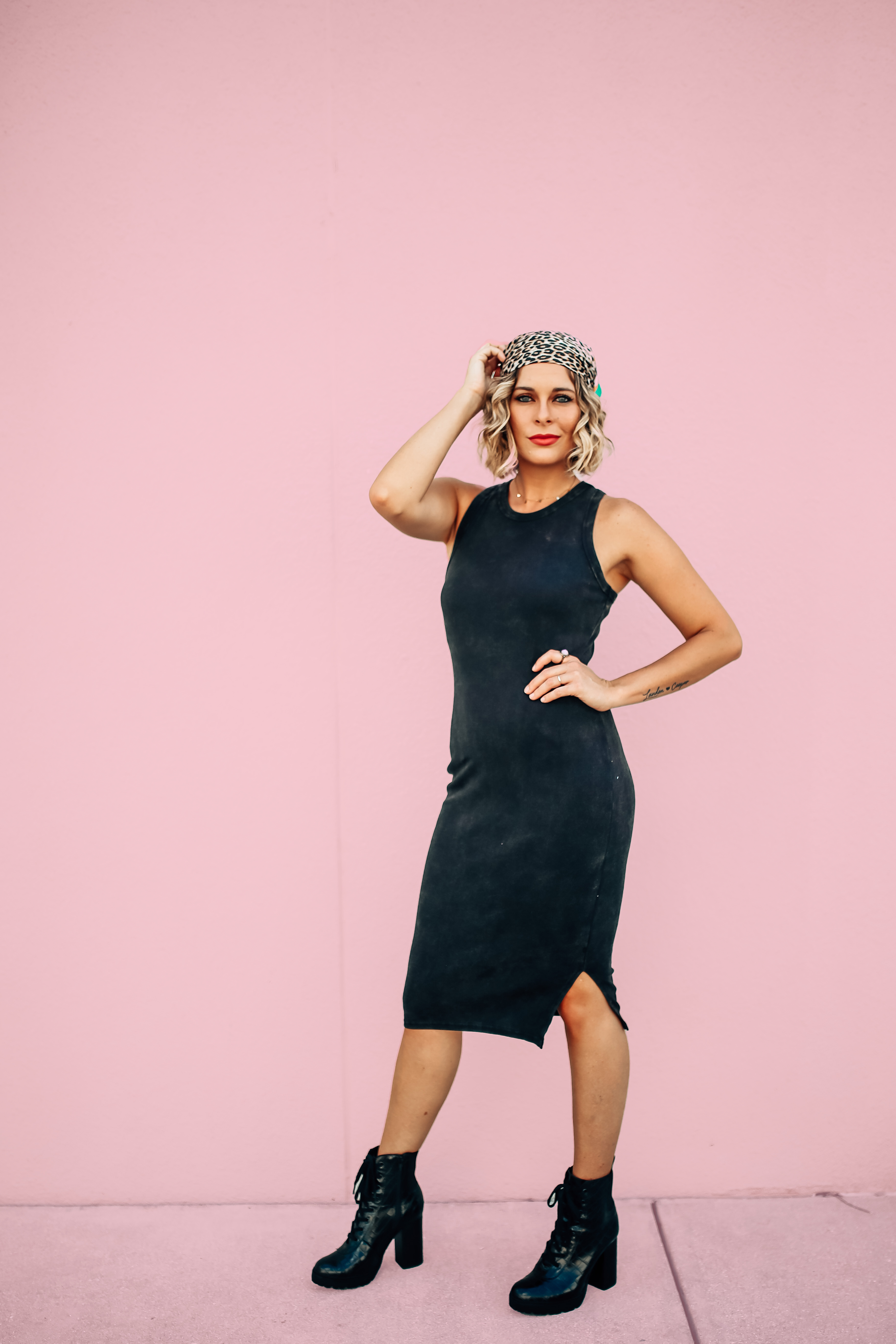"""BODYCON STYLE TANK DRESS. BLACK ACID WASH COLOR. SOFT AND STRETCHY. SMALL SLITS ON BOTH SIDES. SUPERIOR QUALITY. 95% COTTON, 5% SPANDEX. AMANDA IS 5'7"""" A SIZE 2, WEARING A SMALL. S 0-4 M 4-8 L 10-14"""