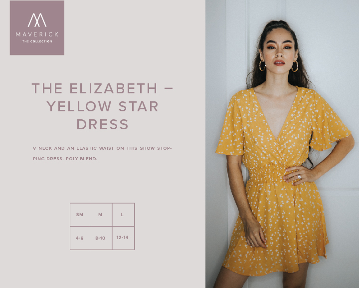 Image for THE ELIZABETH - YELLOW STAR DRESS