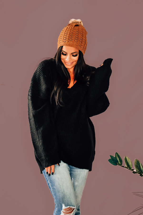 """BLACK, DEEP V-NECK SWEATER. AVAILABLE IN TWO COLORS – BLACK AND BLUSH. PIPER IS 5'4"""", SIZE 0, WEARING A SMALL.STEPHANIE IS SIZE 4, WEARING A SMALL. NIKI IS SIZE 14, WEARING A LARGE. S 0-6 M 6-12 L 12-16"""