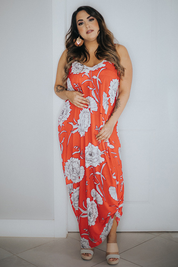 RED FLORAL PRINT MAXI DRESS. LOOSE FIT.  100% RAYON 1X-  14-16  2X - 18-20  3X 22-24