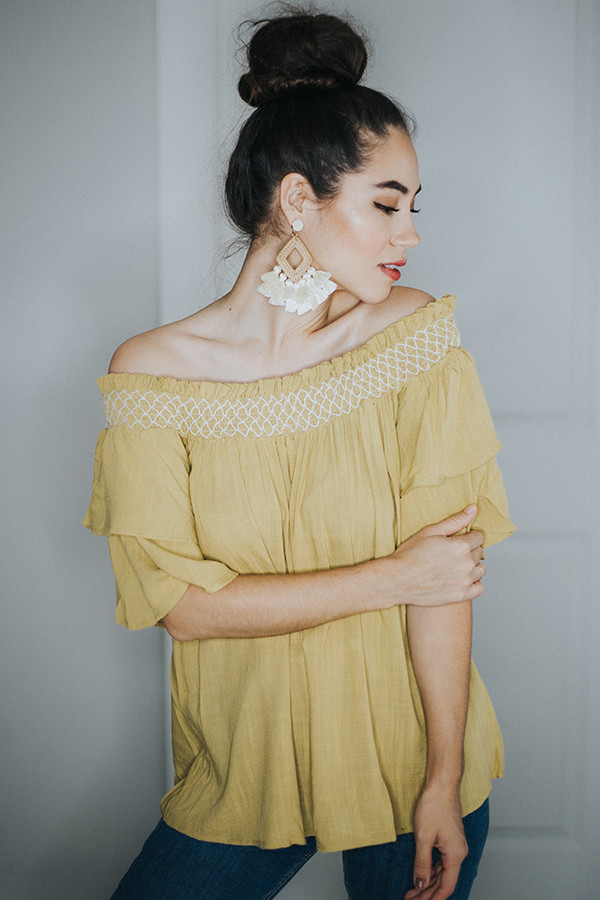 MUSTARD OFF THE SHOULDER TOP. TIERED RUFFLE SLEEVE.  100% RAYON SMALL 4-6   MEDIUM 8-10    LARGE 12-14