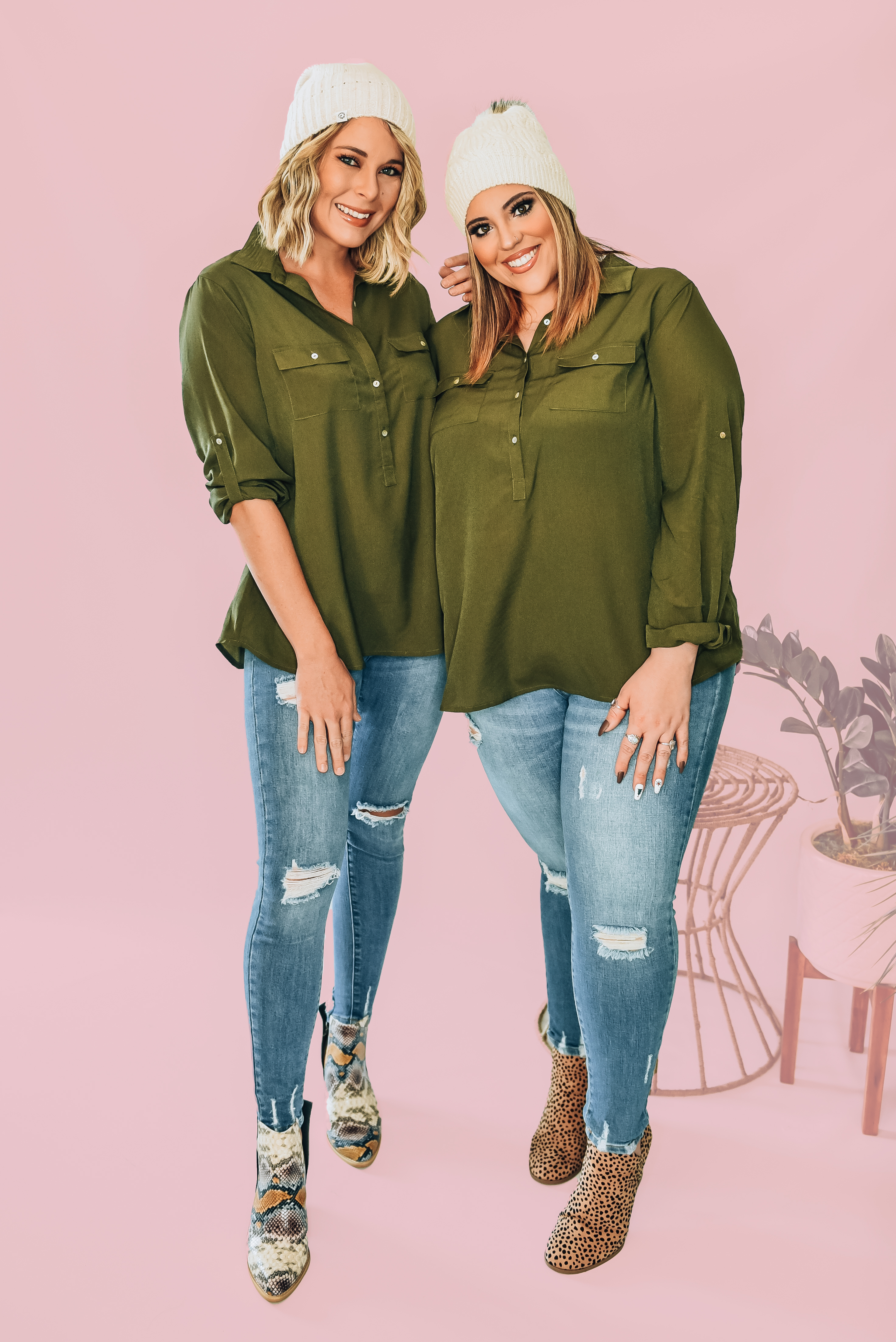 """OLIVE GREEN BUTTON UP BLOUSE WITH BUTTON CUFFS.  100% POLYESTER. AMANDA IS 5'6""""  SIZE 2, WEARING A SMALL. NIKI IS A SIZE 14, WEARING AN XL. XS 0-2 S 4-6 M 8-10 L 10-12 XL 12-14"""