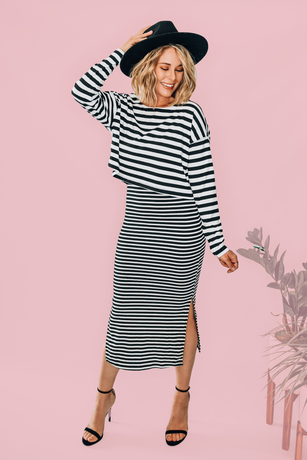 TWO PIECE SET - TOP AND DRESS. BODYCON LONG DRESS WITH SIDE SLITS AND SPAGHETTI STRAPS, FLOWY DROP SHOULDER TOP. 47% POLYESTER, 47% COTTON, 6% SPANDEX. AMANDA IS 5'7 SIZE 2, WEARING A SMALL.  S 0-4 M 4-8 L 8-12