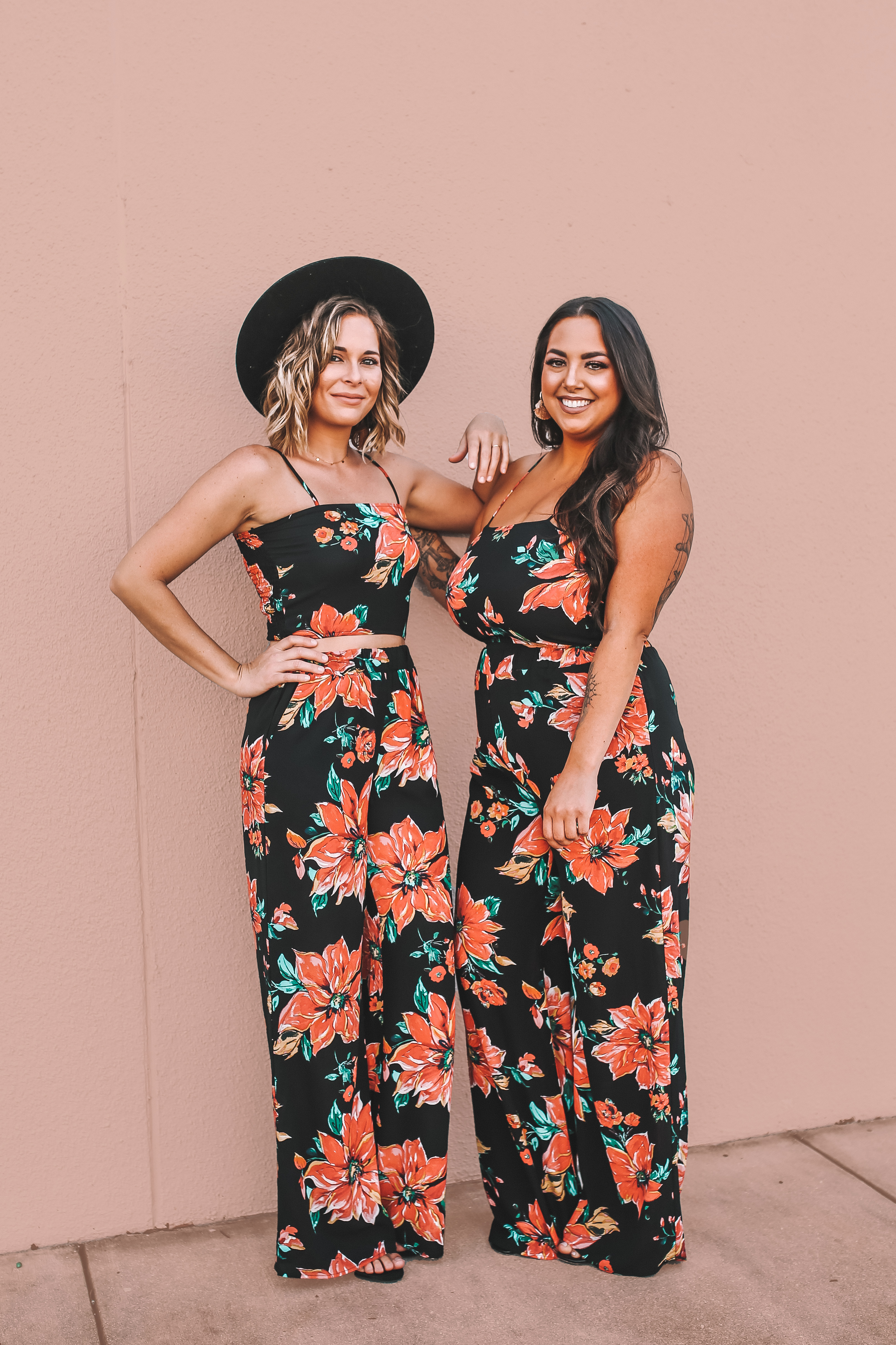 MAVERICK EXCLUSIVE! SAME BEAUTIFUL FLORAL MATERIAL AS THE LOTUS JUMPER AND KIMONO. LIGHTWEIGHT AND FLOWY. CROP TANK WIDE ADJUSTABLE STRAPS AND RUCHED ELASTIC BACK. WIDE LEG, ELASTIC WAIST PANTS WITH SIDE POCKETS. 32 IN. INSEAM.
