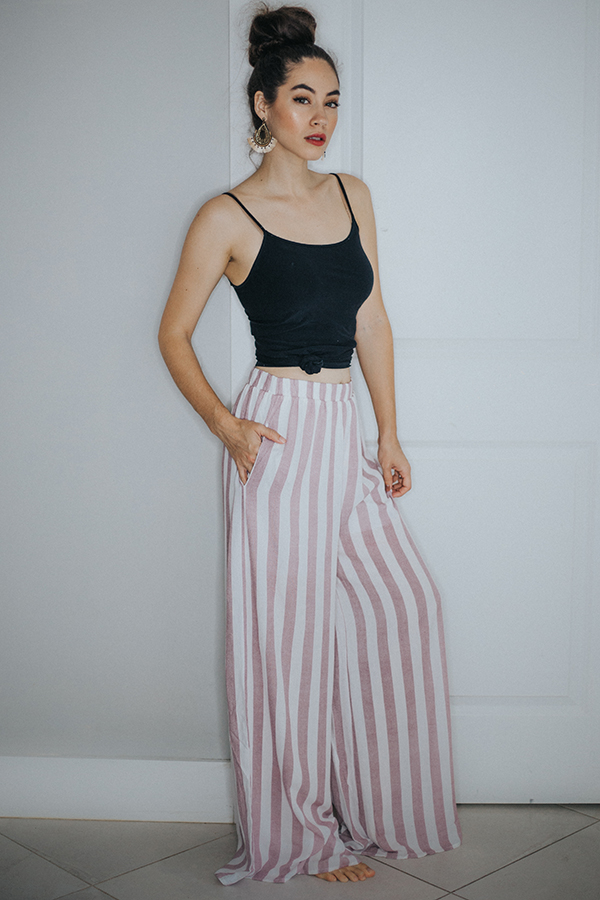 BERRY/OFF WHITE STRIPED PANTS. ELASTIC WAIST AND POCKETS. NO SLITS IN LEGS. 100% RAYON COMES IN SAGE/OFF WHITE ALSO. SMALL 4-6   MEDIUM 8-10    LARGE 12-14