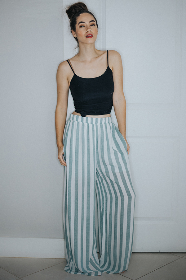 Image for AVA- SAGE/OFF WHITE STRIPED PANTS