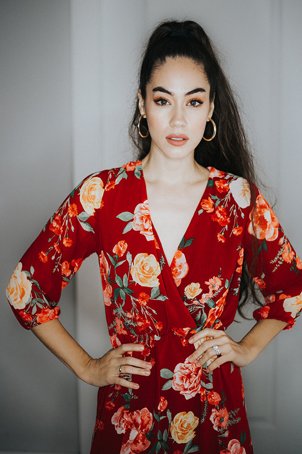 – BOHO FLORAL DRESS. FLORAL MAXI DRESS WITH A V NECK , HIGH SLITS ON EITHER SIDE, AND A TIE BACK. FLOWY AND ABSOLUTELY PERFECT.