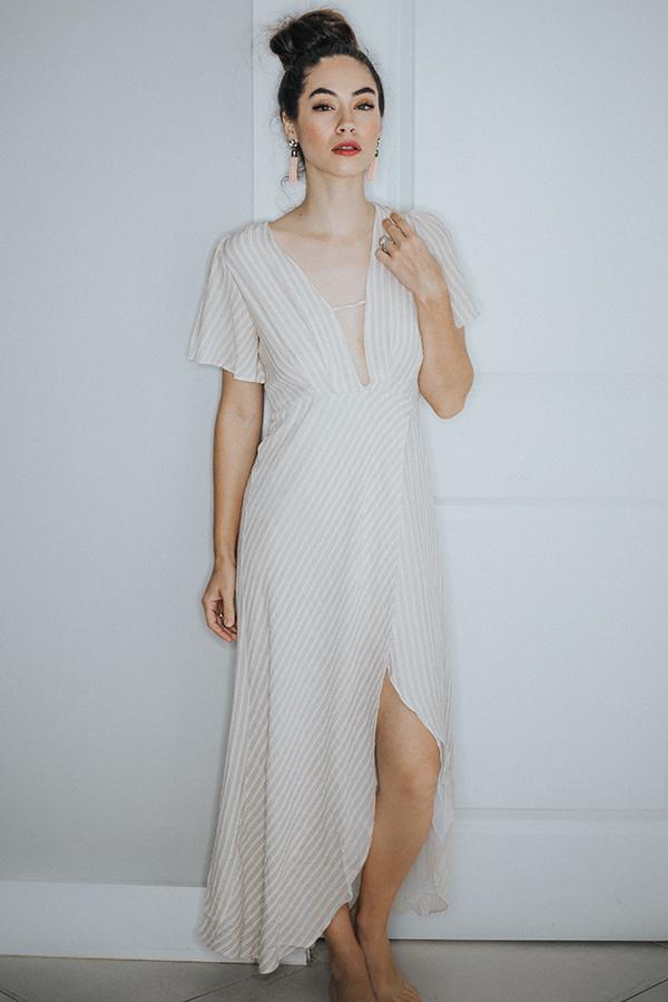 Image for JADE- BEIGE/IVORY SLIT DRESS