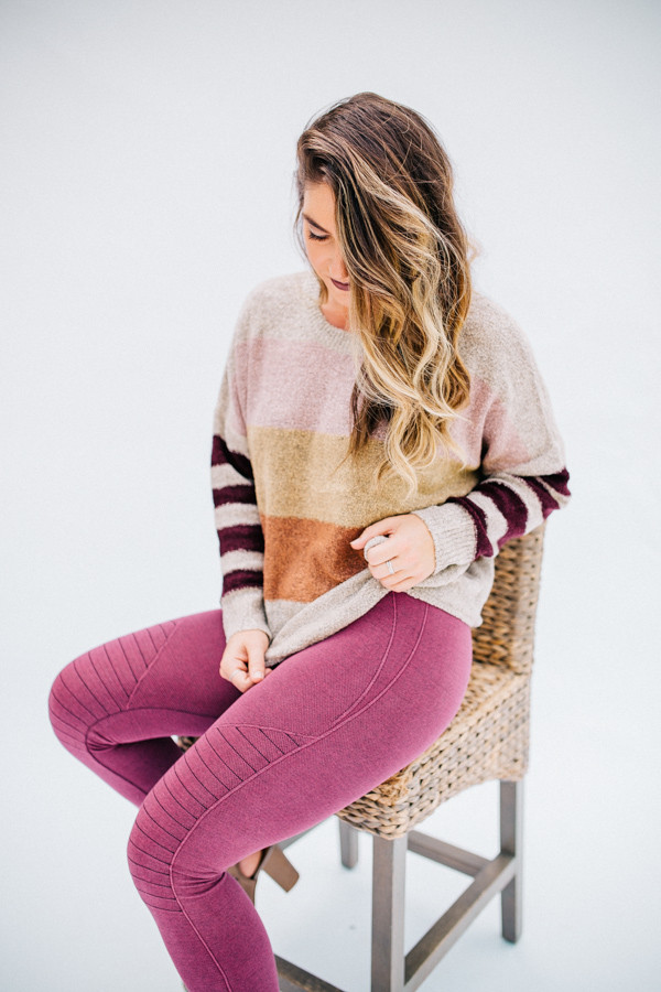 LONG DOLMAN SLEEVE, ROUND NECK, MULTI COLOR BLOCK SWEATER.  OATMEAL COLOR.  ALSO COMES IN GRAY COLOR. 86% ACRYLIC 14% POLYESTER  SMALL 2-4 MEDIUM 6-8 LARGE 10-12