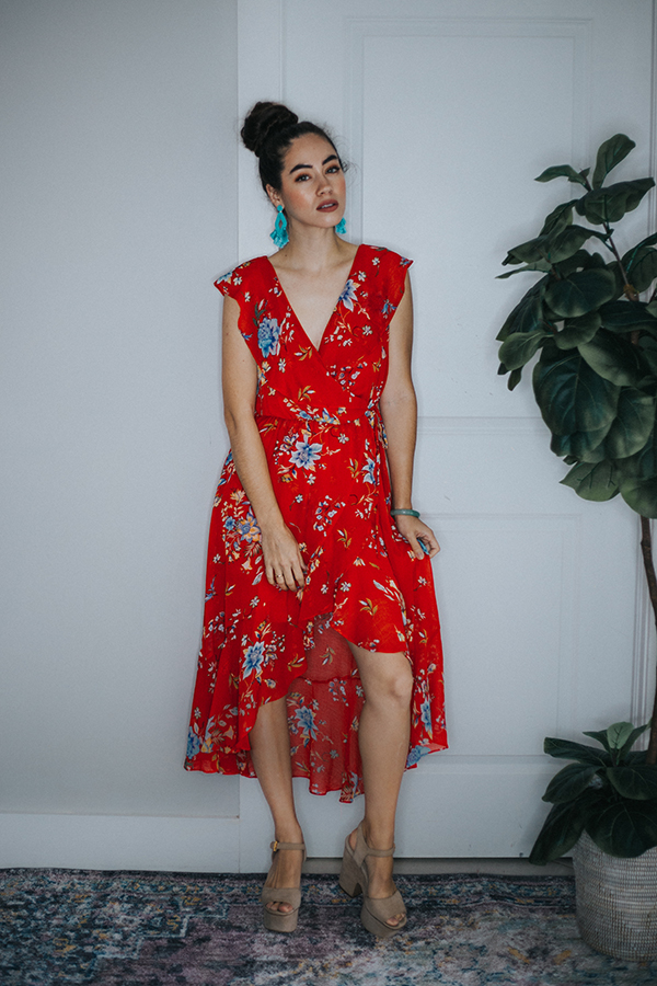 Image for HEIDI- RED FLORAL HI/LOW DRESS
