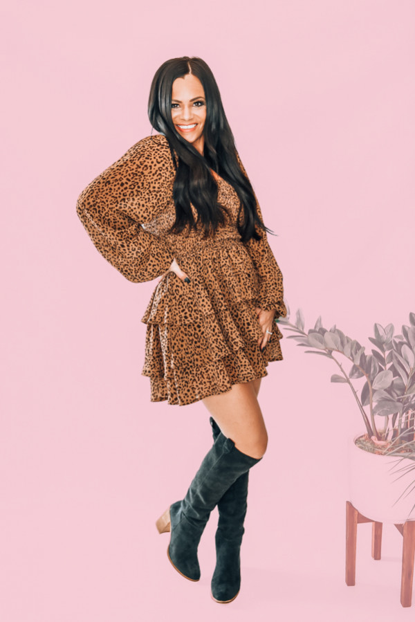 LEOPARD ROMPER WITH LAYERED BOTTOM. CAN BE WORN OFF SHOULDER. STRETCHY ELASTIC ROUCHING ON BODICE. NIKI IS SIZE 14, WEARING XL. AMANDA IS 5'7 SIZE 2, WEARING A SMALL. XS 0-2 S 4-6 M 8-10 L 10-12 XL 12-14