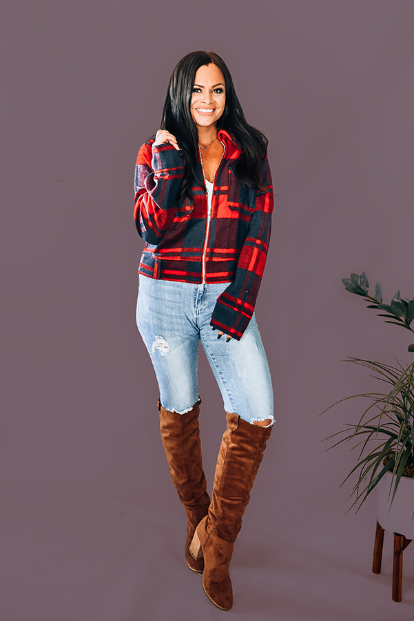 RED AND NAVY PLAID JACKET. COLLARED WITH ZIPPER FRONT, FUNCTIONAL BUTTON COMES IN TWO COLORS, RED AND BLACK. 55% COTTON, 45% POLYESTER. AMANDA IS 5'6, SIZE 2, WEARING SMALL. NIKI IS SIZE 14, WEARING LARGE. S 0-4 M 6-10 L 10-14