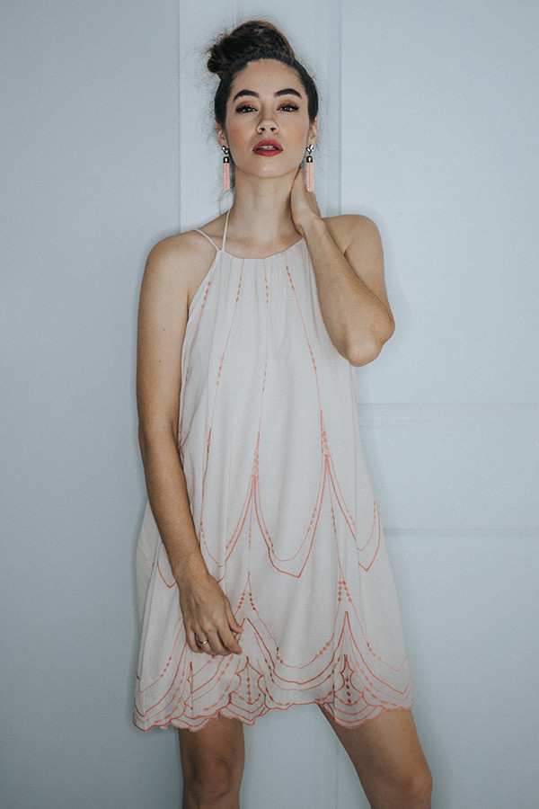 CREAM/PEACH DRESS WITH TIE AROUND THE NECK. SPAGHETTI STRAPS.  100% RAYON