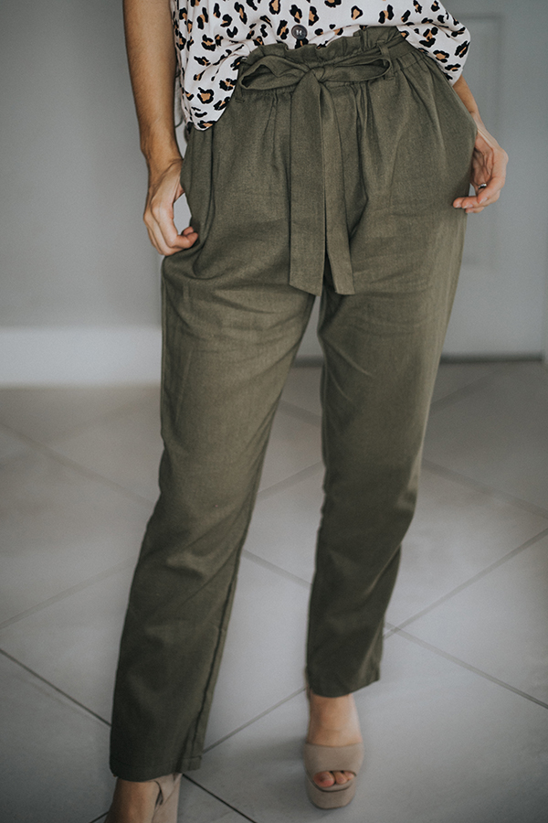 PAPERBAG WITH BOW TIE LONG LINEN PANTS.  COMES IN BLACK AND PINK ALSO.  41% LINEN 30% RAYON  23% POLYESTER  6% COTTON  SMALL 4-6   MEDIUM 8-10    LARGE 12-14